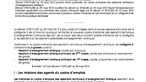 96109ca34be catégorie B cadre emplois assistant enseignement artistique - 01 04 ...